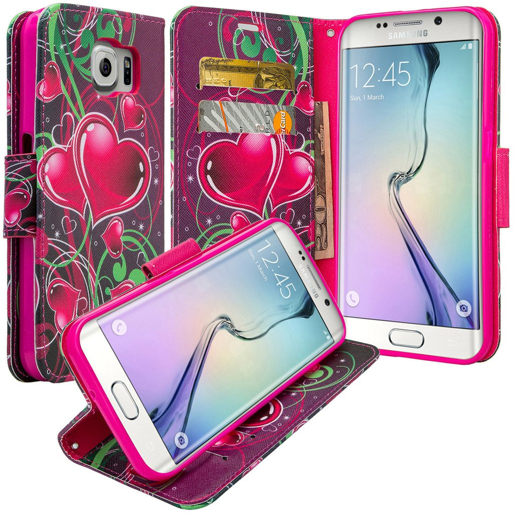 Galaxy S6 Edge Plus Case, Slim Magnetic Flip Kickstand Wrist Strap Leather Wallet Cover - Heart Sensation