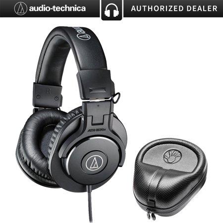 Audio-Technica ATH-M30x Professional Headphones with Slappa Hard Body PRO Full Sized Headphone Black