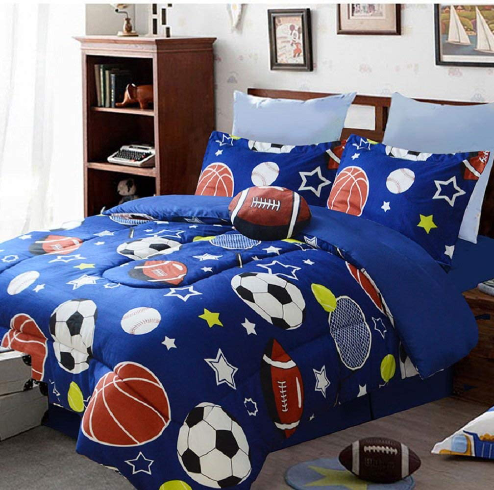 5 Piece Full size bedding SPORTS basket base foot ball ...