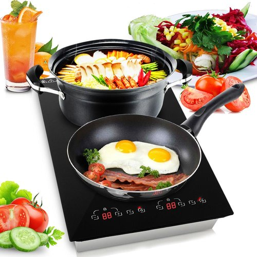 SereneLife Dual 11'' Induction Cooktop with 2 Burners