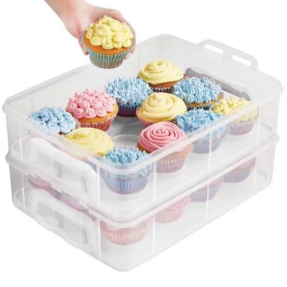 3-Tier Cake and Cupcake Holder Carrier Container (Pink)