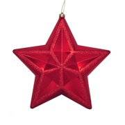 """12"""" Shiny Red Hot Glitter Commercial Size Shatterproof Star Christmas Ornament"""