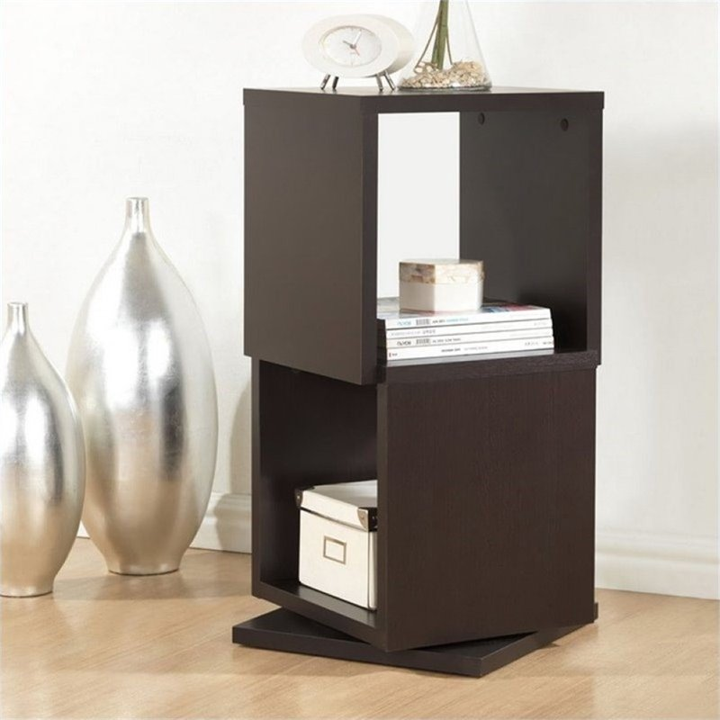 Atlin Designs 2 Cubby Rotating Bookcase in Dark Brown