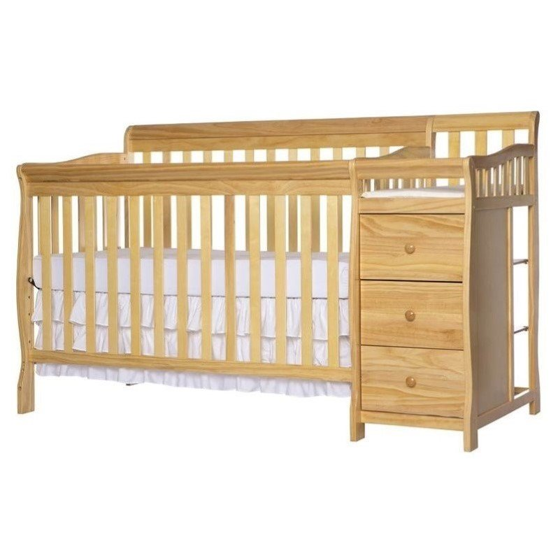 Dream On Me Brody 5-in-1 Convertible Crib with Changer in Natural