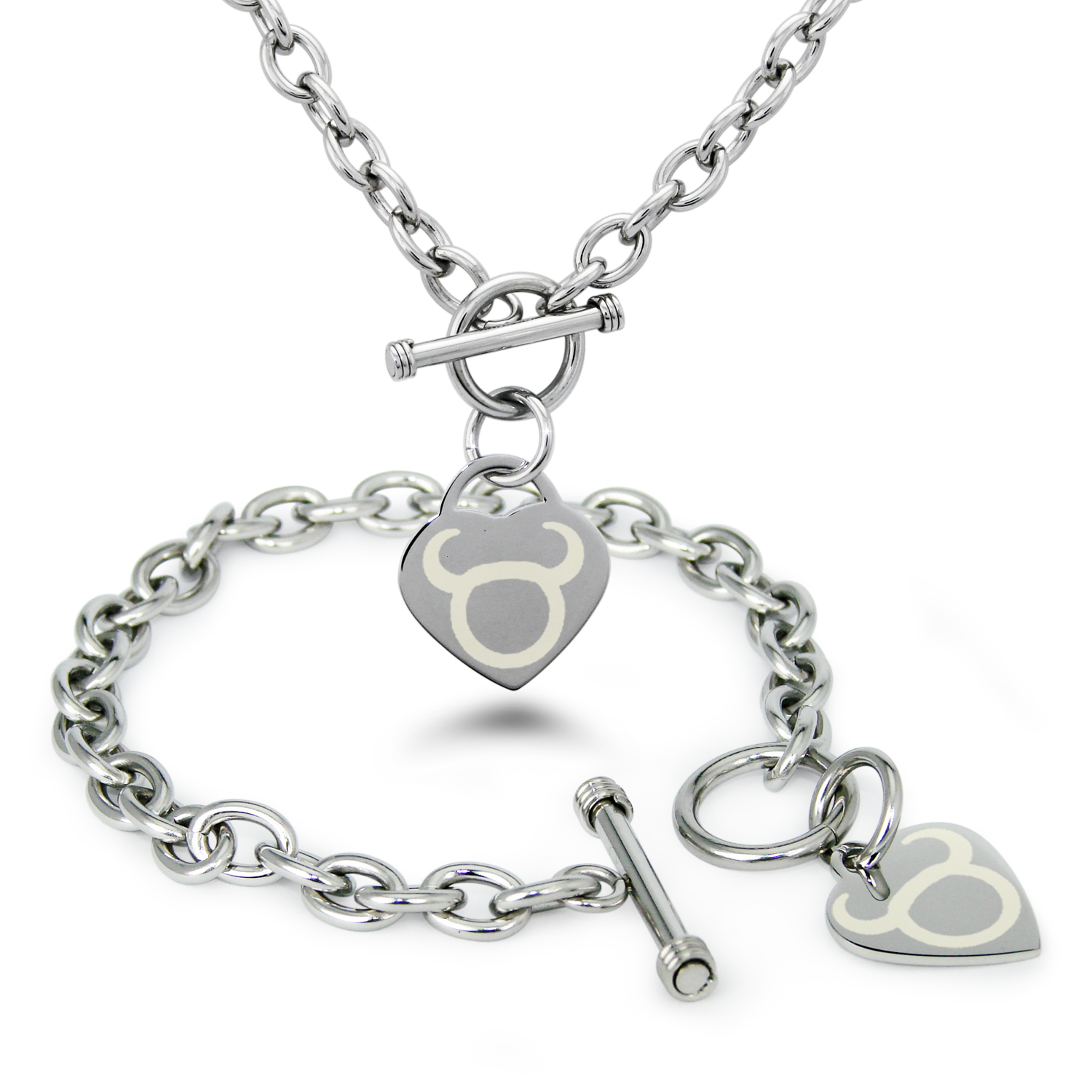 Stainless Steel Taurus Astrology Symbol Heart Charm Toggle Bracelet & Necklace