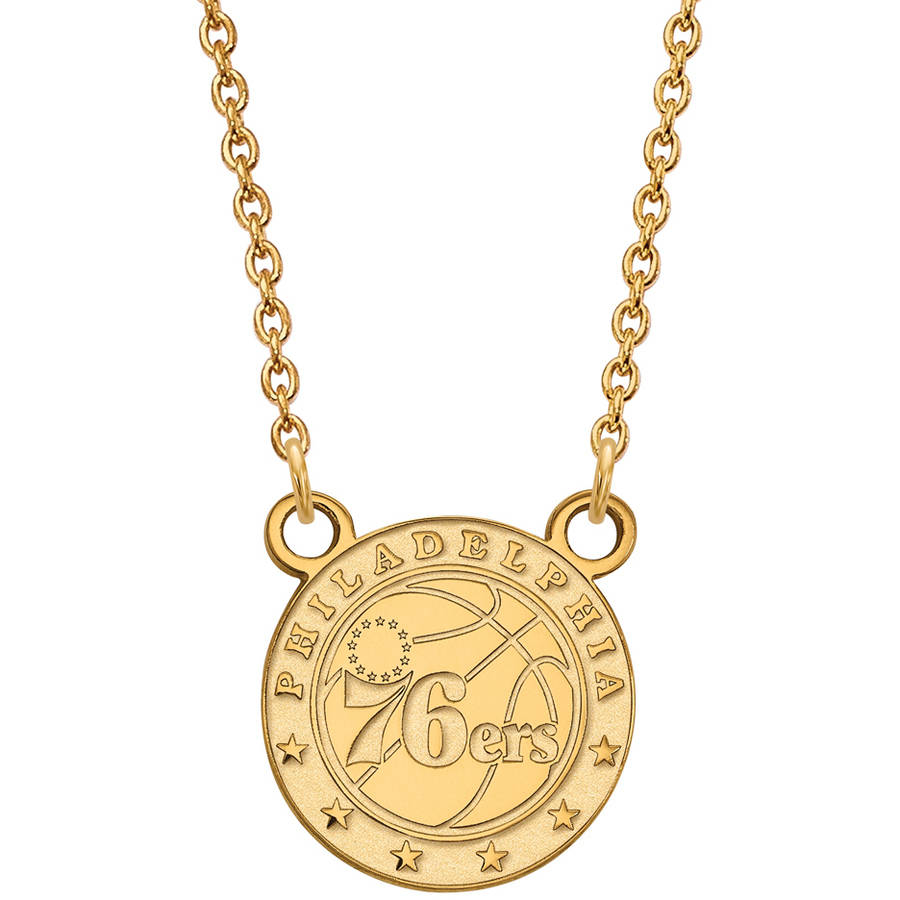 LogoArt NBA Philadelphia 76ers 14kt Gold-Plated Sterling Silver Small Pendant with Necklace