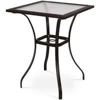 Patio Square Bar Glass Table Umbrella Deck Outdoor Garden Furniture