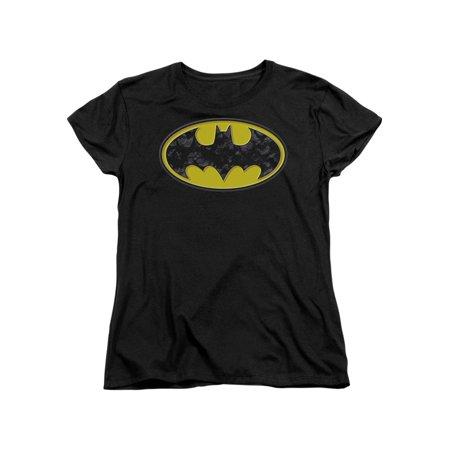 Batman Comic Book Superhero Icon Yellow Bats In Logo Women's T-Shirt