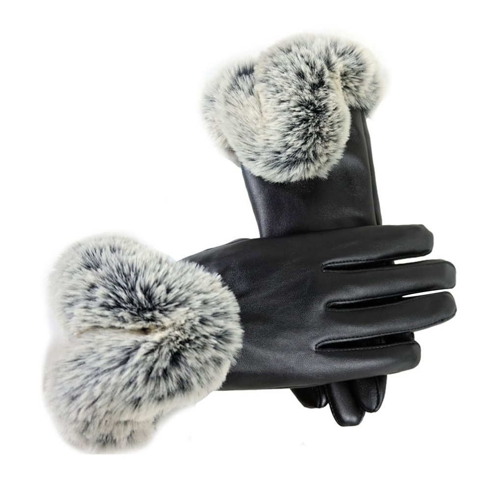 Ladies Leather Simulated Rabbit Hair Touch Screen Gloves PU Warm Gloves