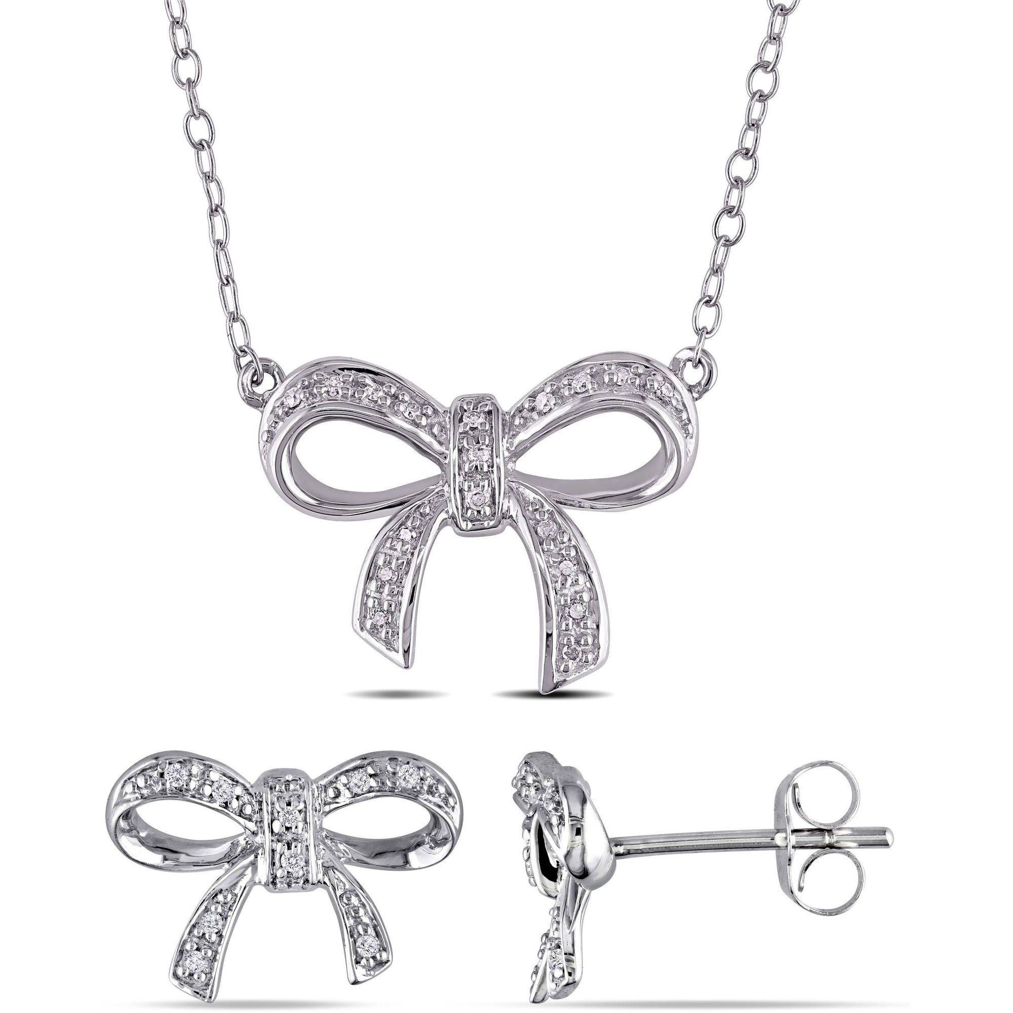 Miabella 1/10 Carat T.W. Diamond Sterling Silver Bow Pendant and Earrings Set, 18""