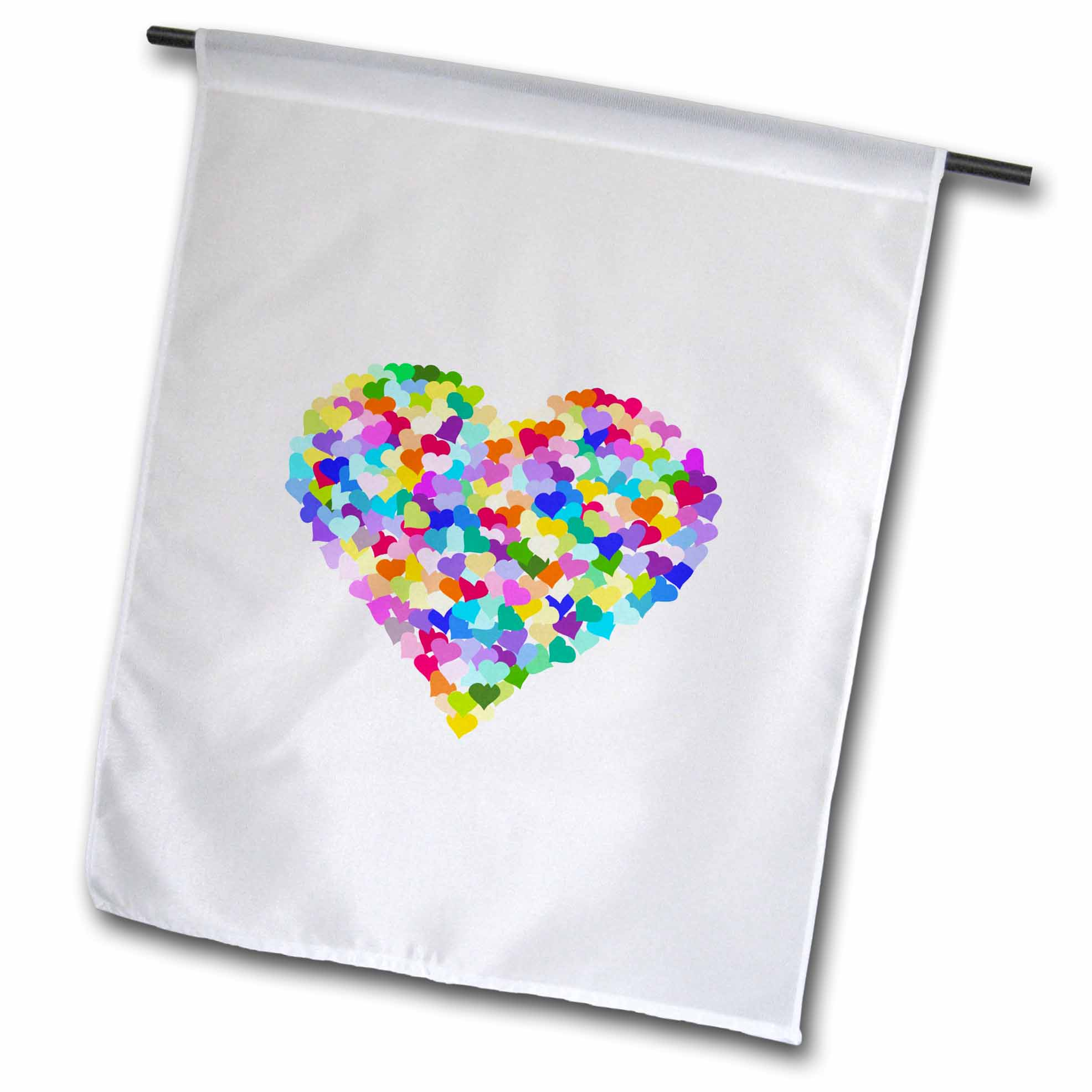 3dRose Rainbow love heart of hearts made of colorful romantic confetti - cute multicolor - valentines day, Garden Flag, 12 by 18-Inch