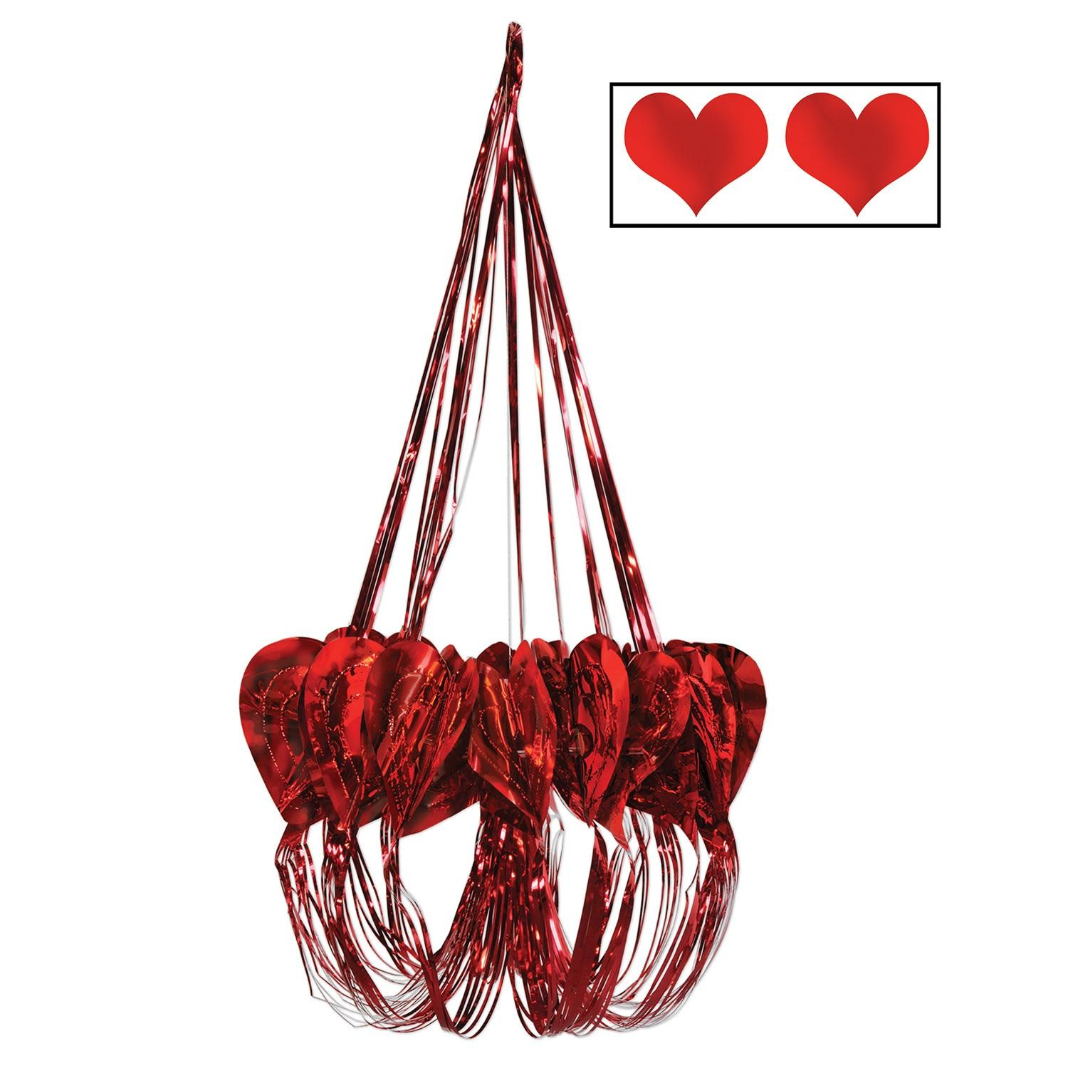 Pack of 6 Sweetest Day and Valentine's Heart Chandelier Hanging Decorations 35""