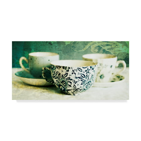 Trademark Fine Art 'Antique Teacups And Saucers' Canvas Art by Tom