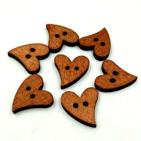 100pcs 2 Holes Brown Wooden Bottons Sewing Craft Heart-shaped Retro Buttons