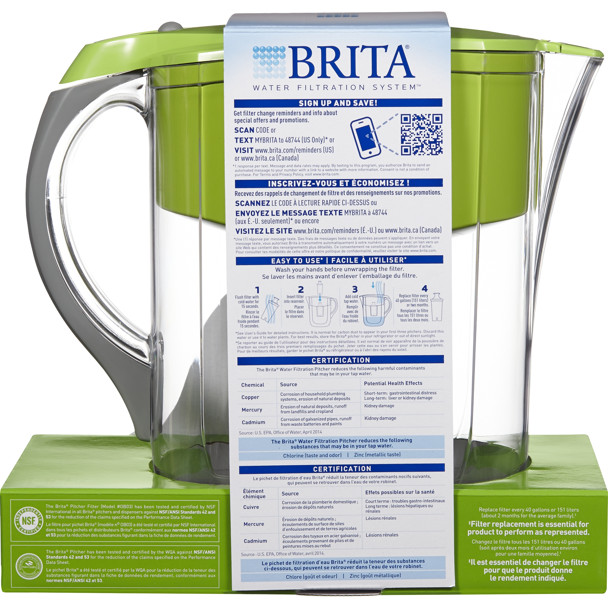 Brita Large 10 Cup Grand Water Pitcher with Filter - BPA