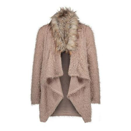 - Women Warm Faux Fur Coat Chic Jacket Cardigan Outerwear Tops Loose Open Front Coat, Khaki