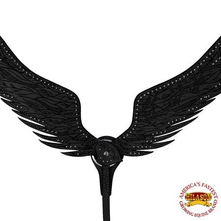 HILASON WESTERN AMERICAN LEATHER HORSE BREAST COLLAR EAGLE WINGS BLACK