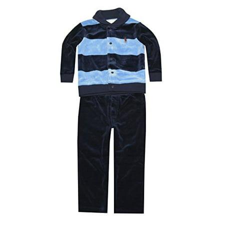 Ralph Lauren Baby Boys Striped Velour Set (6 Months, Northern Sky Multi)