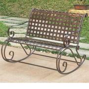 Pemberly Row Iron Patio Rocker Loveseat in Bronze