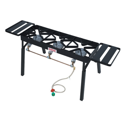Bayou Classic Triple Fry Burner Outdoor Stove with Legs and Shelves