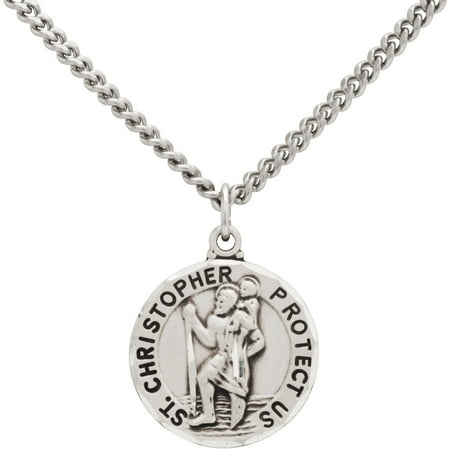 Stainless Steel Round St. Christopher Medal Pendant Necklace, 24