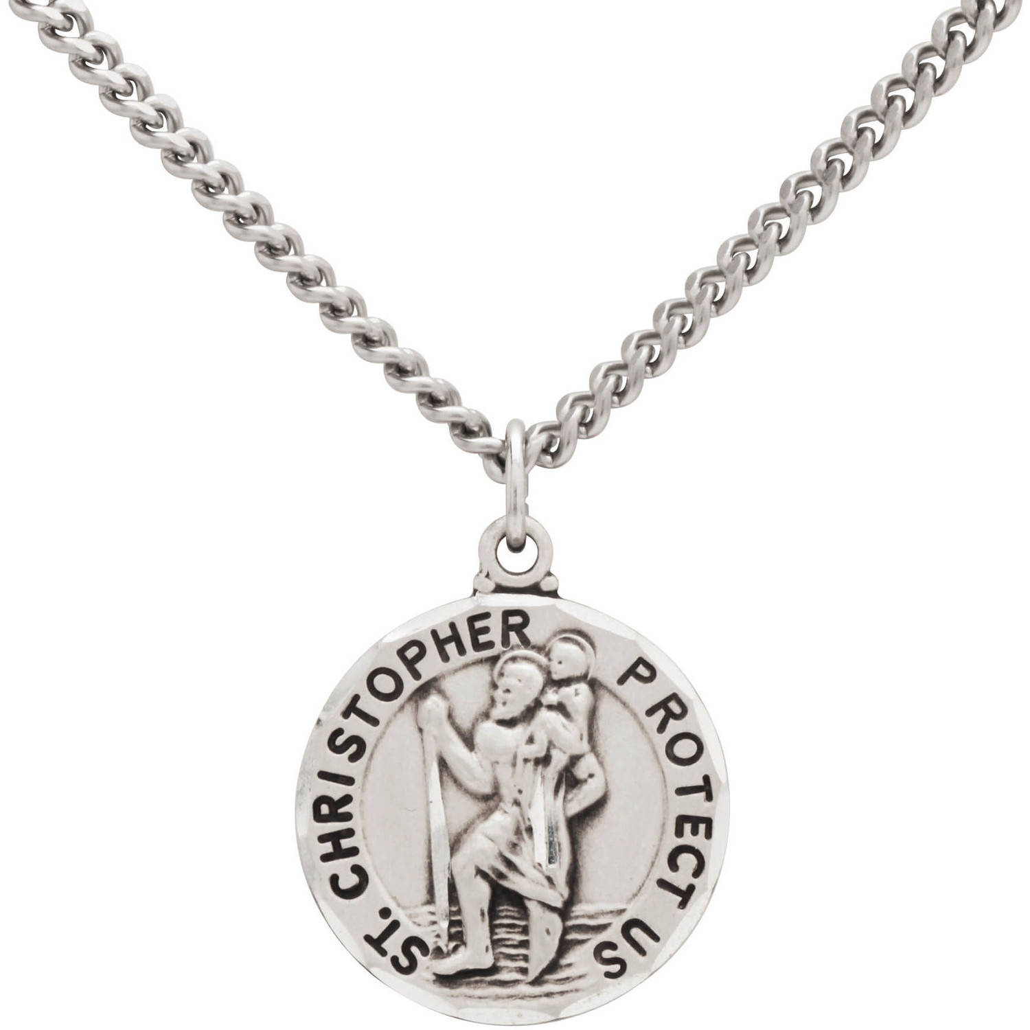 Stainless Steel Round St. Christopher Medal Pendant, 24""