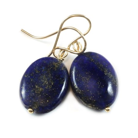 Lapis Earrings 14k Gold Filled Blue Lazuli Smooth Cut Large Oval Drops Spygl Designs
