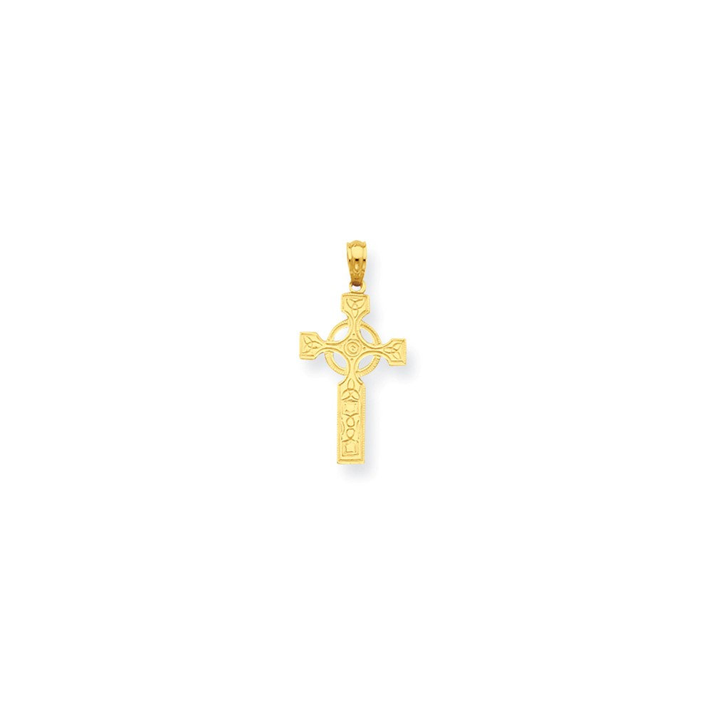 14k Yellow Gold Celtic Cross with Eternity Circle Pendant