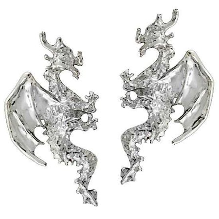 Sterling Silver Left Right Pierceless Flying Horned Dragon Ear Cuff Wrap