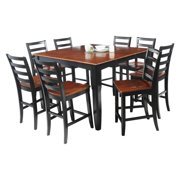Ryley Dining Set Counter Height-Finish:Black/Saddle Brown,Quantity:9 Piece