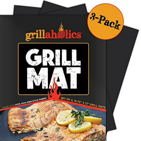 Grillaholics Grill Mat - Set of 3 - Nonstick BBQ Grilling Accessories - 15.75 x 13