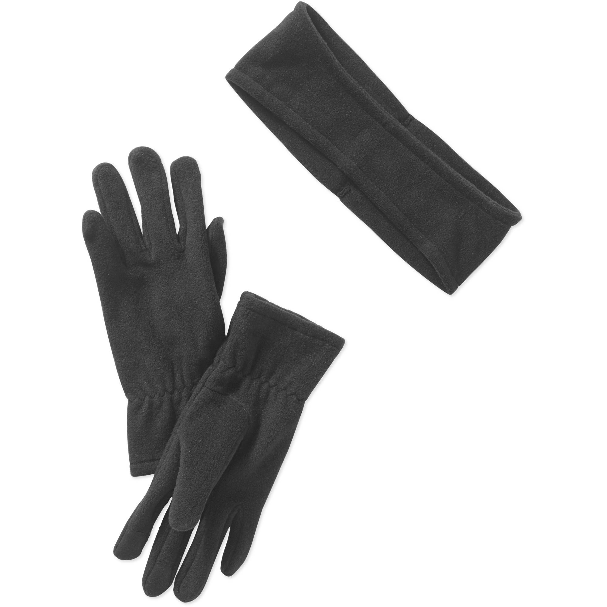 Women's Fleece touch gloves and ear warmer set