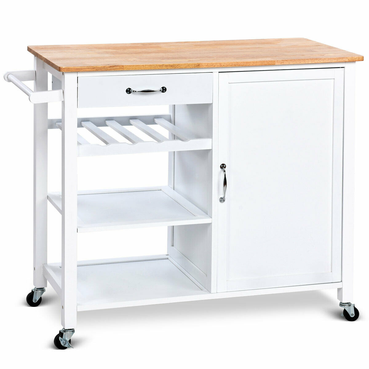 Gymax 4-Tier Wood Kitchen Trolley Cart Island Storage ...