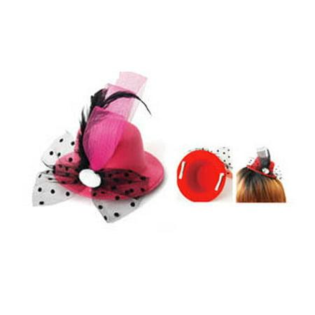 Mini Derby Hat Hair Clip - Clip On Hair Bowler Hat (Pink)