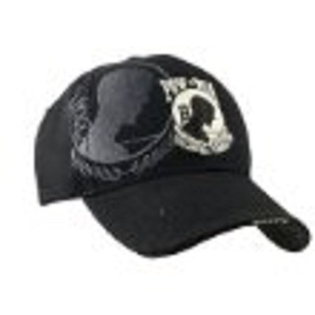 Embroidered Shadow Black Mesh POW MIA  Baseball Style Hat Cap