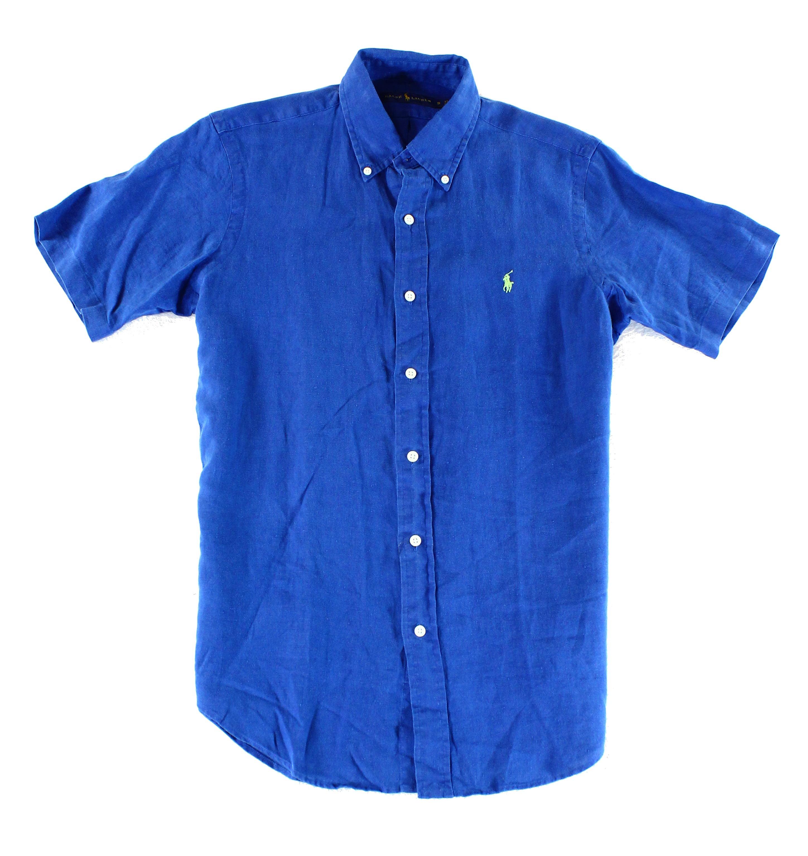 Ralph Lauren NEW Blue Mens Size 2XL Linen Woven Button Down Shirt