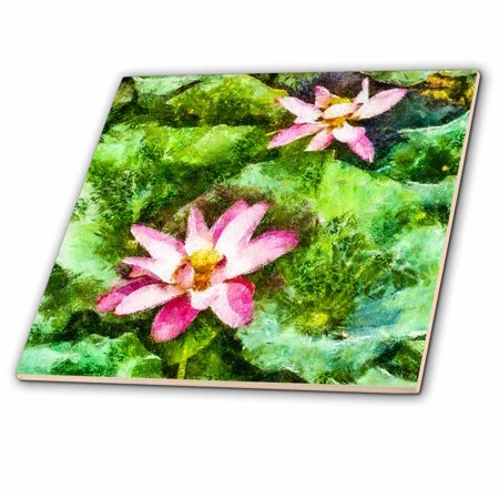 3dRose Two Lotus Flowers and Lily Pads - Ceramic Tile, (Flowers Pad)