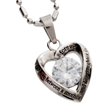 Stainless Steel Women's Pendant Mother Daughter Cz Heart - Mother Daughter Necklaces
