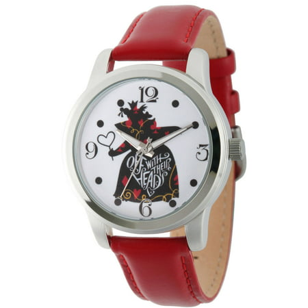Disney, Alice in Wonderland, Queen of Hearts Women's Silver Alloy Watch, Red Leather Strap