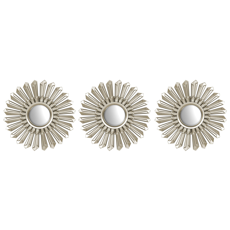 """Mainstays 3 Pack Champagne Metallic Decorative 10"""" Round Mirrors"""