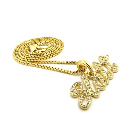 Studded Gold Chain (Stone Stud Slatt Phrase Pendant with Chain Necklace - Gold-Tone, 20