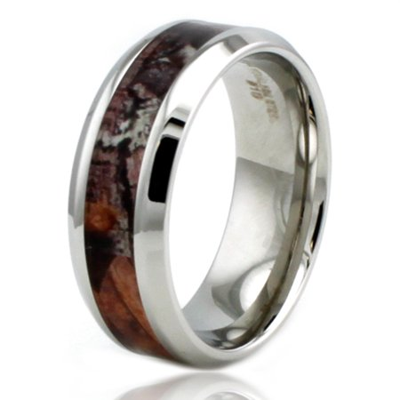 8 MM Stainless Steel Wood Camouflage Beveled Edge Wedding Band Ring](Orange Camo Wedding Rings)