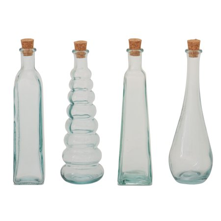 Striking Set Of 4 Glass Stopper Bottle