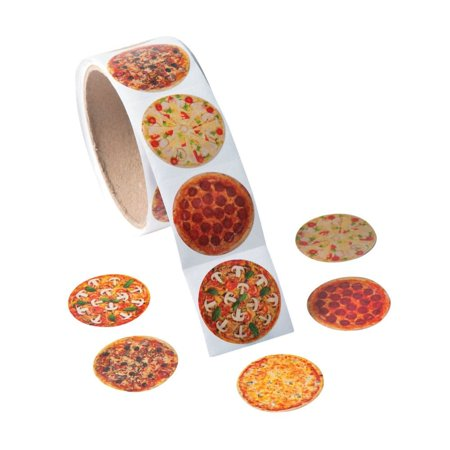Sticker Rolls (Realistic Photo Pizza Stickers - 1 Roll of 100)