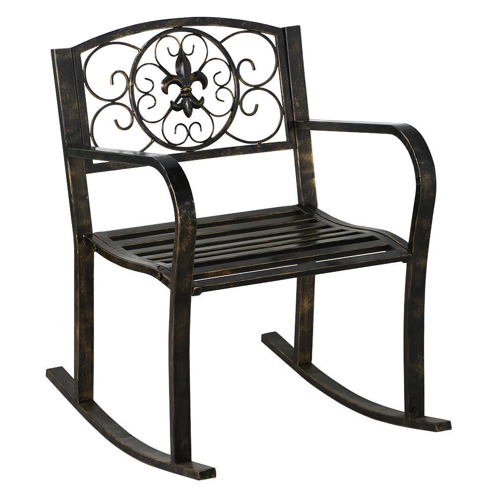 Yaheetech Sturdy Patio Metal Rocking Chair Porch Seat Deck Outdoor Backyard Glider Rocker In Bronze