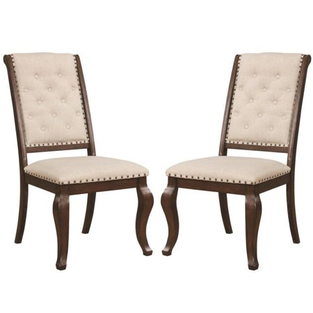 - A Line Furniture French Neoclassic 18th Century Antique Design Button Tufted Dining Chairs (Set of 2)