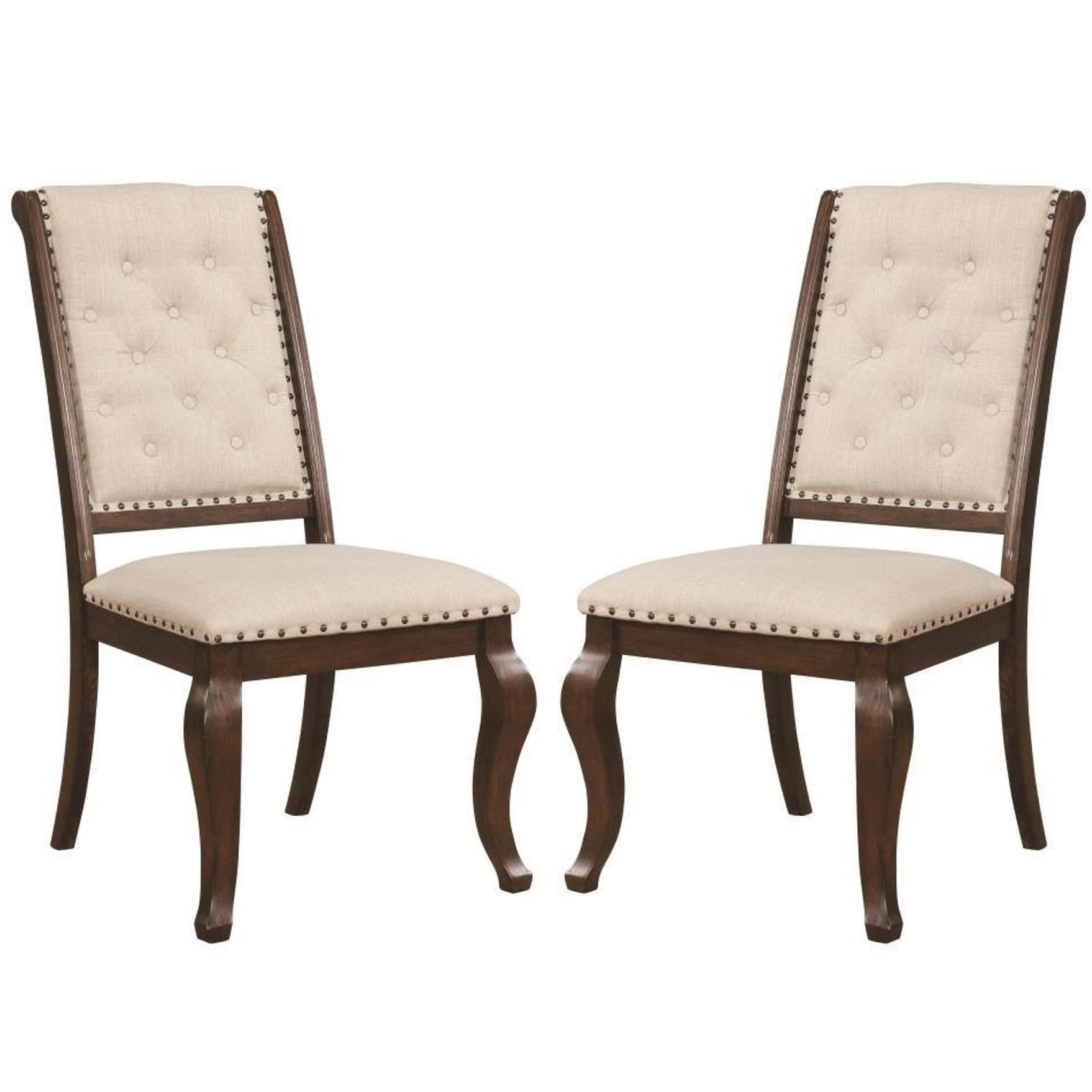 Merveilleux A Line Furniture French Neoclassic 18th Century Antique Design Button  Tufted Dining Chairs (Set Of 2)