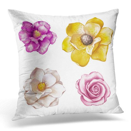 CMFUN Yellow Digital Watercolor Magnolia Rose Assorted Flower Collection Floral Design White Pink Tropical Pillow Case Pillow Cover 20x20 inch
