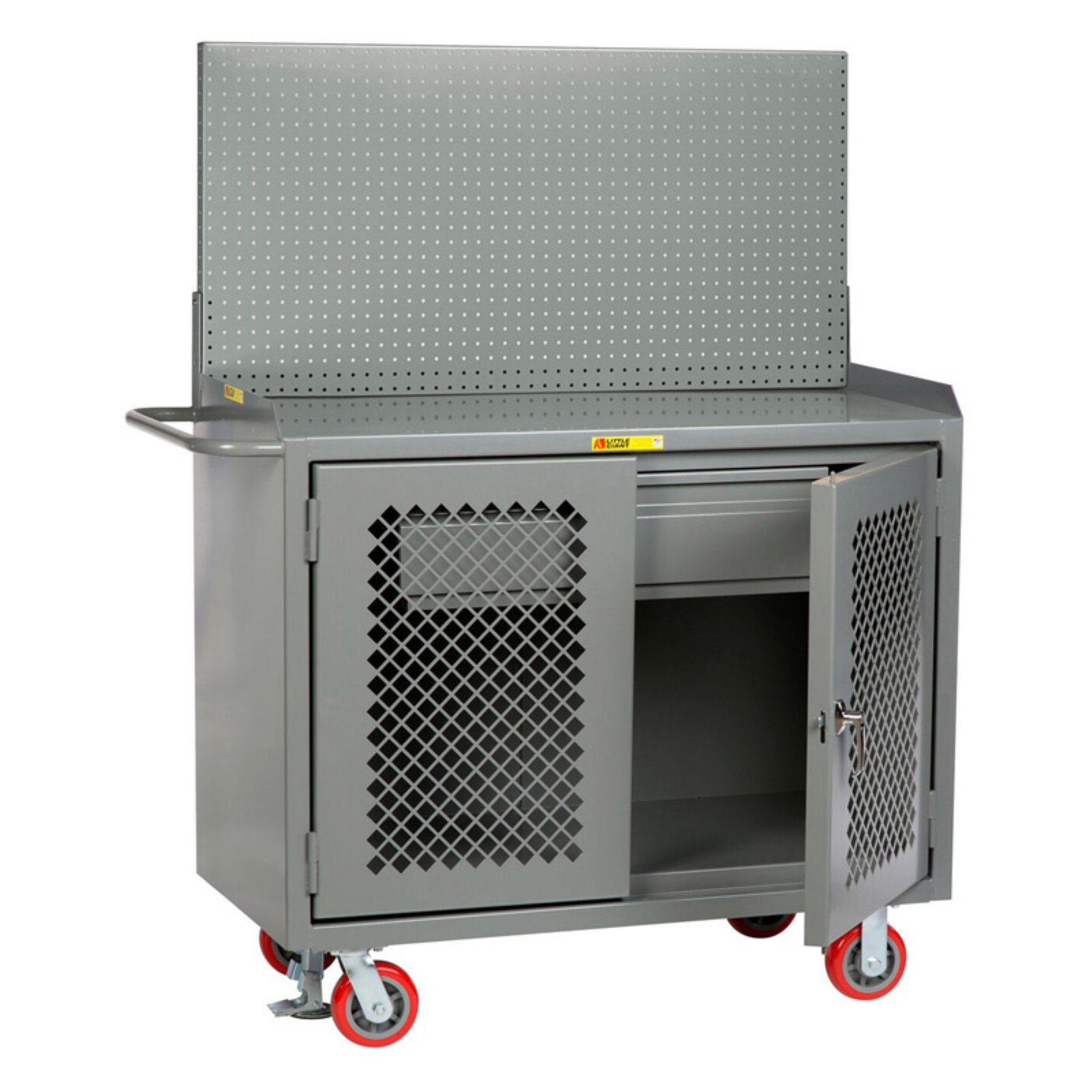 Little Giant 48 in. Mobile Bench Cabinets with Clearview Doors and Pegboard Tool Storage