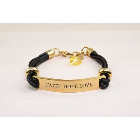 Genuine Leather ID Bracelet with Crystals from Swarovski - FAITH HOPE LOVE